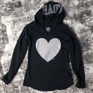 Justice Silver Glitter Heart Love Hoodie XXL 18